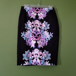 Mirrored Floral Print Pencil Skirt